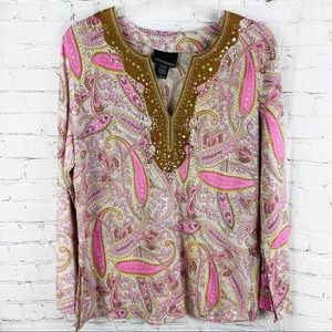 Pink Paisley Long Sleeve Western Style Tunic Top